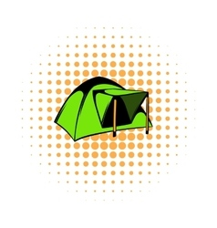 Blue dome tent icon comics style vector image vector image