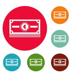 cash money icons circle set vector image