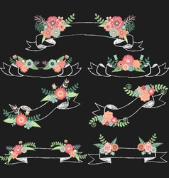 Chalkboard Wedding Flora with Banners vector image