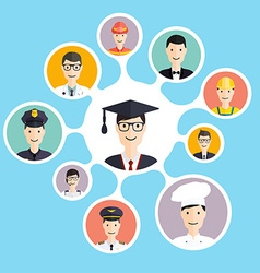 Graduation male student make career choices vector