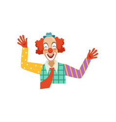 happy funny circus clown cartoon friendly clown vector image