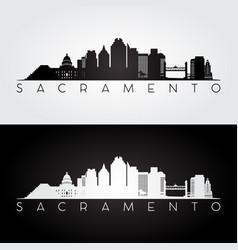 sacramento usa skyline and landmarks silhouette vector image vector image