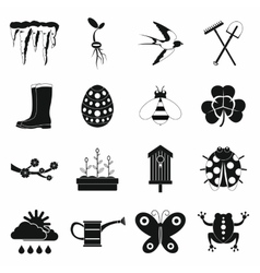 Spring icons set simple style vector image vector image
