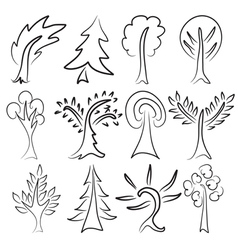 tree sketches vector image