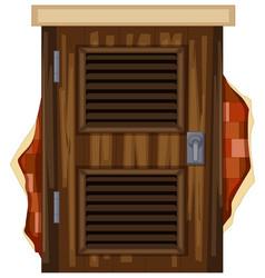 wooden door on brickwall vector image vector image