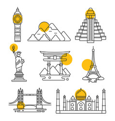city travel linear landmarks vector image vector image
