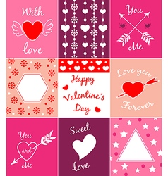 Decorative cards for Valentines day vector image vector image