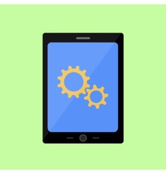 Flat style touch pad with gear wheels vector image