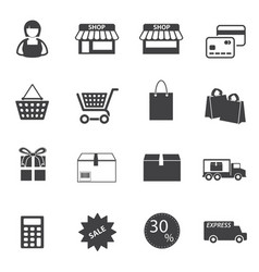 market and shopping mall icons set vector image vector image