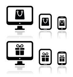 Shopping online internet shop icons set vector image vector image