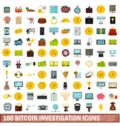 100 bitcoin investigation icons set flat style vector image