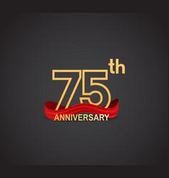 75 anniversary logotype design with line golden vector
