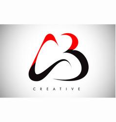Ab red black swoosh letter modern trendy design vector