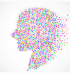 abstract silhouette human head with colorful vector image