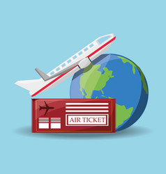 Air tiket to travel for the world in airplane vector