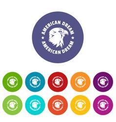 american dream eagle icons set color vector image