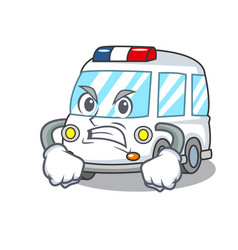 Angry ambulance mascot cartoon style vector