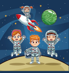 Astronauts kids on space cartoon vector