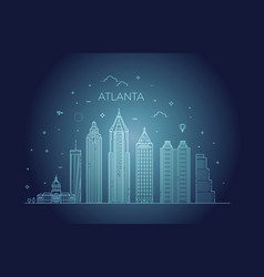 atlanta architecture line skyline vector image