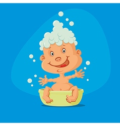 baby taking bath vector image