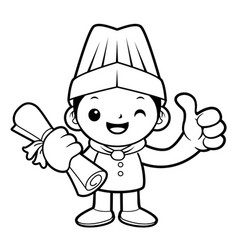 Black and white funny cook mascot academic vector