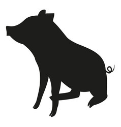 Black and white sitting pig silhouette vector