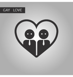 black and white style icon gays in heart vector image