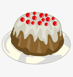 cake decorated berry on plate vector image