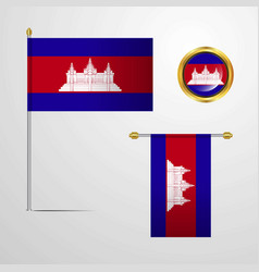 Cambodia waving flag design with badge vector