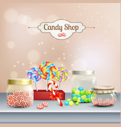 Candy shop 3d composition vector