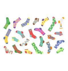 Cartoon socks bundle socks with textures vector