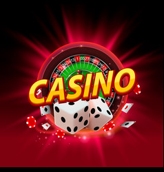 casino dice roulette banner signboard vector image