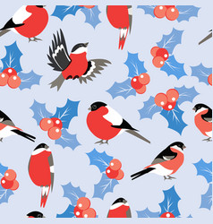 Christmas pattern with leaves berries holly and vector