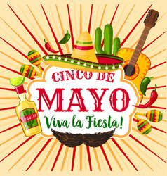 Cinco de mayo mexican holiday greeting poster vector