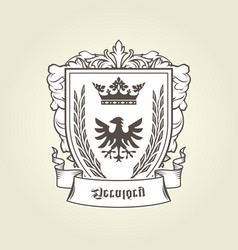 coat of arms with heraldic eagle on shield vector image