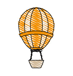 color crayon stripe hot cartoon air balloon vector image