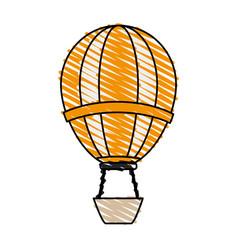 Color crayon stripe hot cartoon air balloon vector