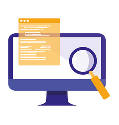 Computer with documents and magnifying glass vector