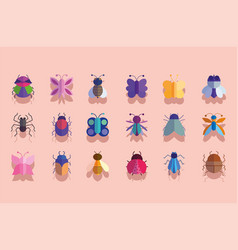 Cute insects animals small fauna in cartoon icons vector