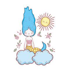 cute mermaid with flowers in the cloud vector image