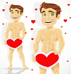 Cute naked man with valentine card vector image