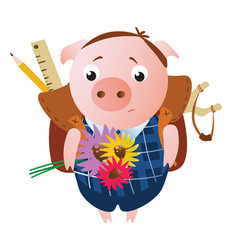 cute sad schoolboy pig with a backpack vector image
