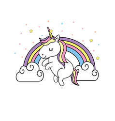 Cute unicorn and rainbow with clouds design vector
