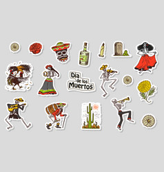 dancing skeletons day of the dead stickers vector image