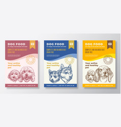 Dog food label templates set abstract vector