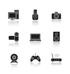 Electronic equipment drop shadow icons set vector image