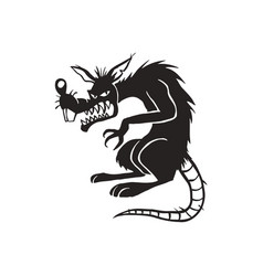 Evil black rat cartoon vector