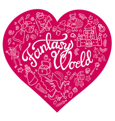 fantasy characters and symbols in the pink heart vector image