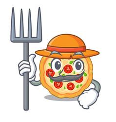 Farmer margherita pizza in a cartoon oven vector