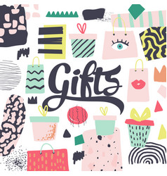 Fashion design with presents and gift boxes vector